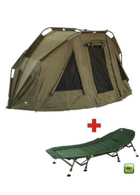 Bivak Giants Fishing Specialist XT Bivvy 2 Man + Lehátko Giants Fishing Specialist Plus 8Leg Bedchair - Akčný set