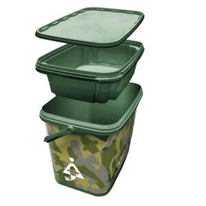 Bait-Tech vedro 8L Square Camo Bucket with Insert Tray