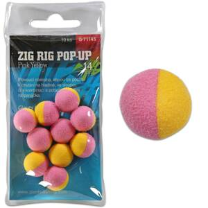 Giants Fishing Penové plávajúce boilies Zig Rig Pop-Up pink-yellow 14mm,10ks