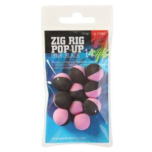 Giants Fishing Penové plávajúce boilies Zig Rig Pop-Up pink-black 14mm,10ks
