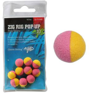 Giants Fishing Penové plávajúce boilies Zig Rig Pop-Up pink-yellow 10mm,10ks